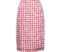 Fringed Houndstooth Tweed Pencil Skirt Rot