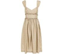 Kleid aus Seiden-twill mit Raffung und Floralem Print