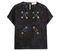 Embellished Silk-organza Top Mitternachtsblau