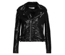 Heleny sequined crepe biker jacket
