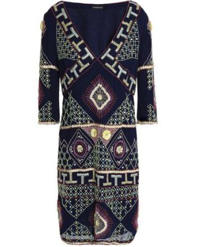 Embellished Georgette Dress Navy