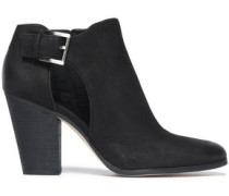 Cutout brushed-leather ankle boots