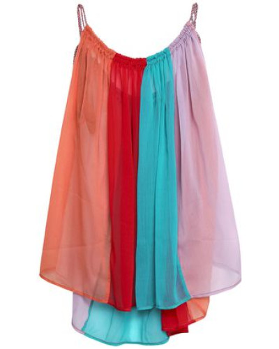 Gathered Color-block Georgette Top Red