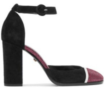 Leather-trimmed suede pumps