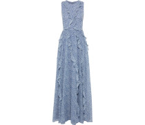 Ruffled Floral-print Chiffon Gown