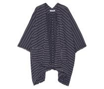 Jerrison Fringed Stretch-knit Poncho Navy