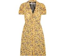 Floral-print chiffon and lamé dress