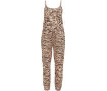 Woman Tiger-print Linen Jumpsuit Animal Print
