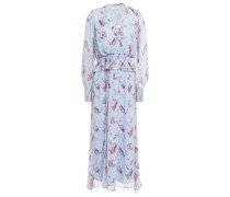 Ruffle-trimmed Shirred Floral-print Silk-crepon Midi Dress