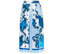 Printed Pleated Twill Midi Skirt