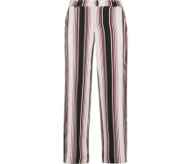 Luxe striped washed-silk wide-leg pants