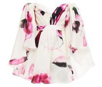 Schulterfreies Minikleid aus Seidenorganza mit Print und Cape-effekt