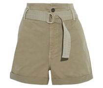 Safari Shorts aus Twill aus Einer Baumwollmischung mit Gürtel