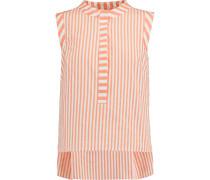 Pinstriped Cotton-blend Top Orange
