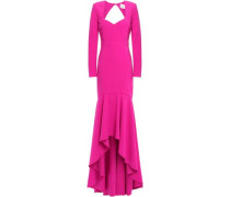 Delilah Open-back Stretch-crepe Gown Fuchsia