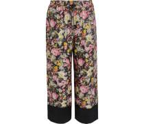Cropped printed silk-twill wide-leg pants