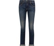 Mid-rise Cropped Slim-leg Jeans Dunkler Denim