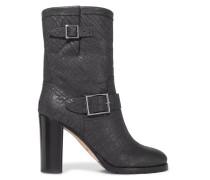 Dart Glittered Textured-leather Boots Schwarz