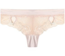 Low-rise cutout satin-trimmed lace briefs
