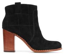 Stitched Suede Boots Schwarz