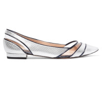 Hester Pvc-paneled Textured-leather Point-toe Flats Silber