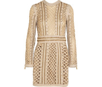 Woven Silk And Leather Mini Dress Beige