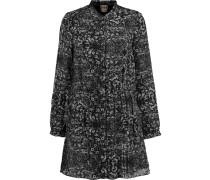 Printed Silk Mini Dress Schwarz