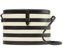 Woman Oval Trunk Striped Leather Shoulder Bag Off-white