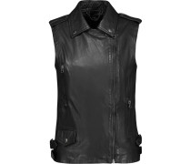 Carina Leather Biker Vest Schwarz