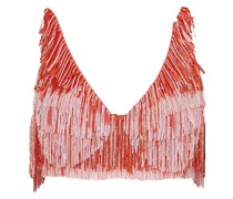 Cropped Fringed Beaded Silk Top