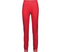 Cassandra Lace-trimmed Stretch-jersey Pajama Pants Signalrot