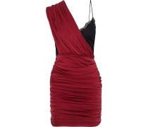 Bianca Lace-paneled Ruched Washed Stretch-silk Mini Dress