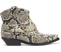 Buckled Snake-effect Leather Ankle Boots