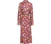 Jane Paneled Belted Printed Silk Midi Shirt Dress