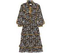 Velvet-trimmed Ruffled Floral-print Crepe De Chine Dress