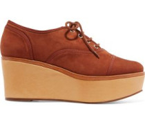 Suede platform wedge brogues