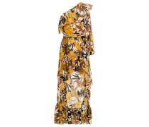 One-shoulder Ruffled Floral-print Silk-voile Dress