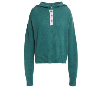 Button-detailed Cotton Hooded Sweater