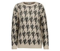 Embellished houndstooth cashmere-blend and cashmere and silk-blend sweater