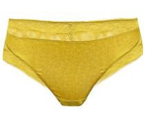 Oisiveté Leavers Lace-trimmed Satin-jacquard Mid-rise Thong