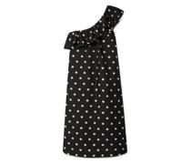 Valentina Kleid aus Floralem Jacquard mit Rüschen und Asymmetrischer Schulterpartie