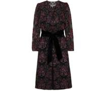 Velvet-trimmed Sequined Tulle Midi Dress