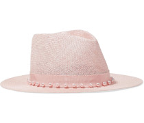 Blaine Faux Pearl-embellished Woven Sisal Panama Hat