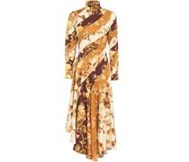 Asymmetric Printed Stretch-silk Twill Midi Dress