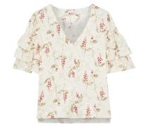 Woman Ruffled Floral-print Silk-blend Jacquard Top Cream