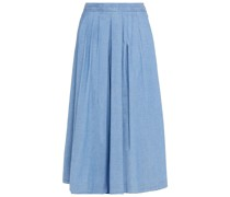 Pleated Cotton-blend Chambray Culottes
