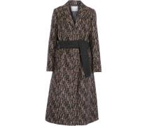 Slim Printed Wool-blend Coat Schwarz