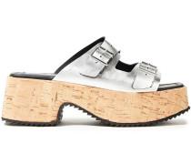 Buckled Metallic Leather Platform Sandals