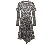 Asymmetric Floral-print Stretch-jersey And Tulle Dress