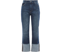 Woman Faded High-rise Straight-leg Jeans Mid Denim